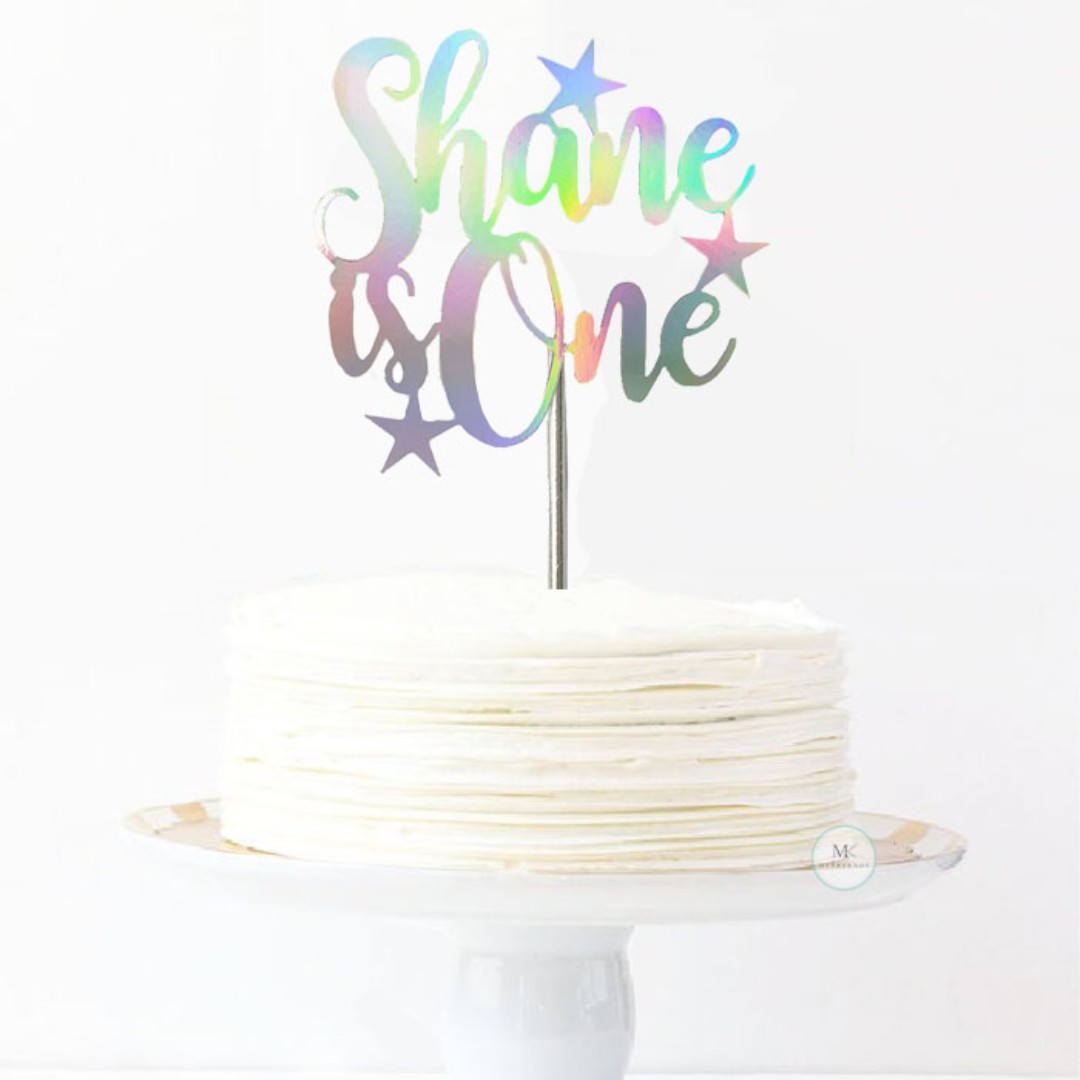 Customized Cake Topper Holographic Iridescent Stars Birthday Is One