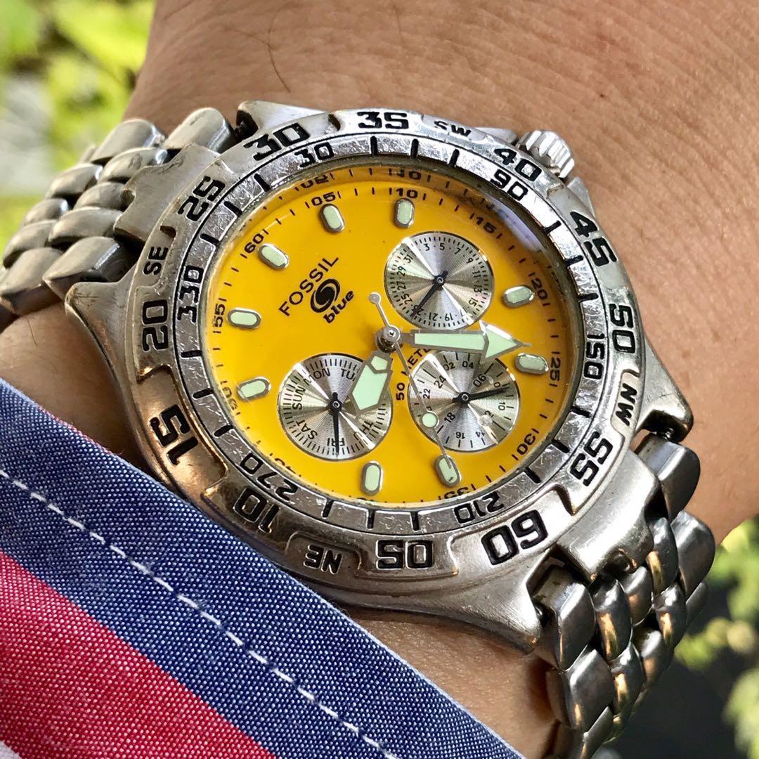 FOSSIL BQ 8795 Vintage Watch Original Yellow Dial Lume Index Calendar Date WR 100 M Stainless Steel