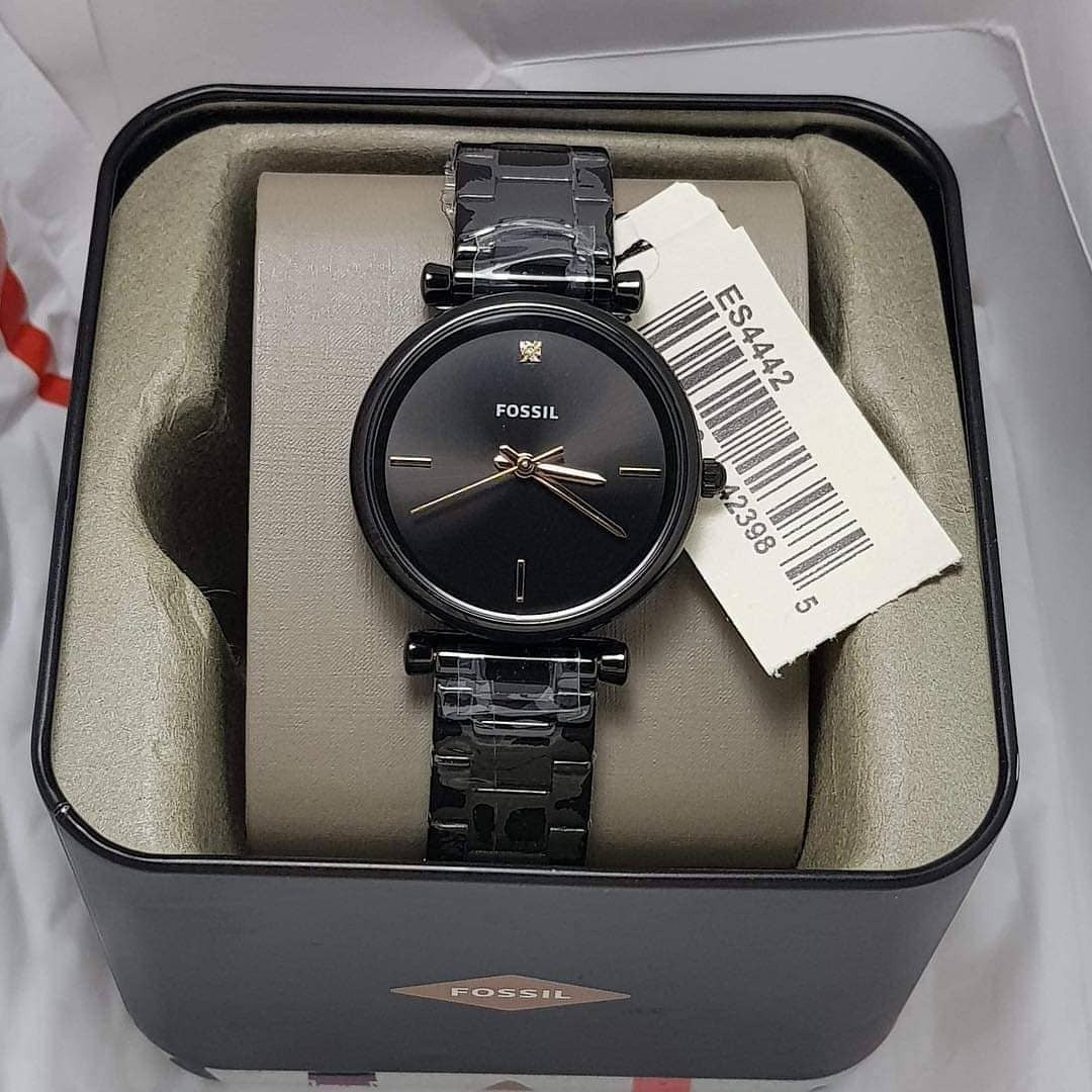 63d5e01f2 Fossil ES4442 Carlie Carbon Series Black Stainless Steel Ladies' Watch ES,  Women's Fashion, Watches on Carousell