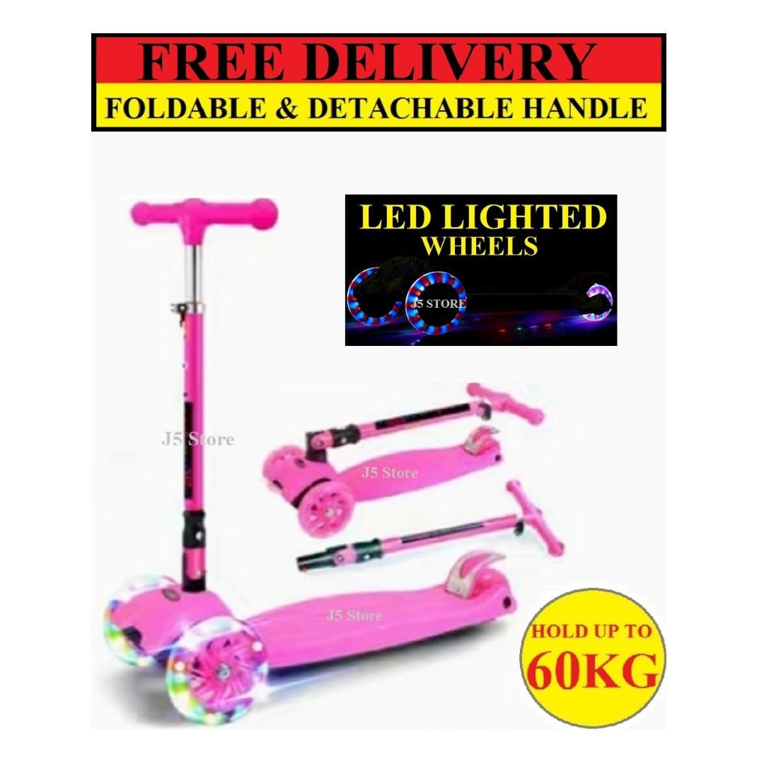 PINK Kids kick scooter, (UPGRADED) models Handle Foldable and Detachable, adjustable height with Super Thick 5cm wheels and LED lights on scooter Body And Wheels. Built in music speaker. (FREE WINDMILL, HANDLE STRAW ,BATTERY AND FREE DELIVERY)