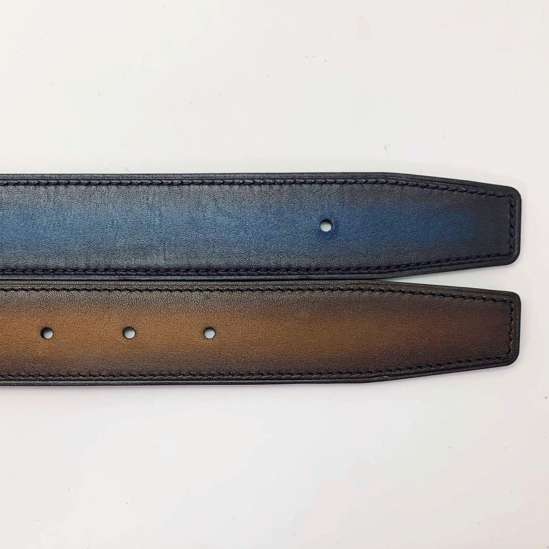 Handmade 32mm Berluti style patina calf leather reversible belt strap size 90 also a replacement belt for Hermes 32mm