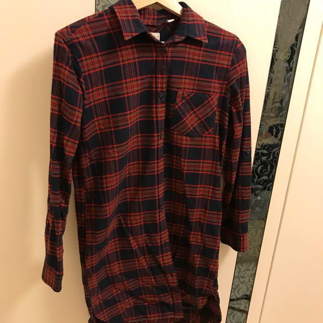 Jack Wills shirt dress checked tartan red flannel uk 6 8