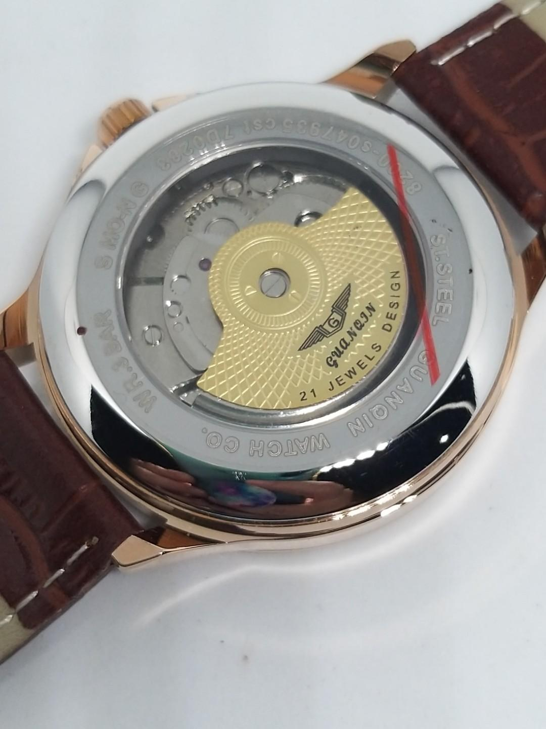 Jam tangan Guanqin Automatic Leather Rose Gold Open heart Moon Phase