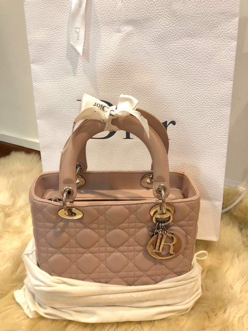 e15480030c723c Lady Dior Medium pink beige lambskin SHW, Luxury, Bags & Wallets ...