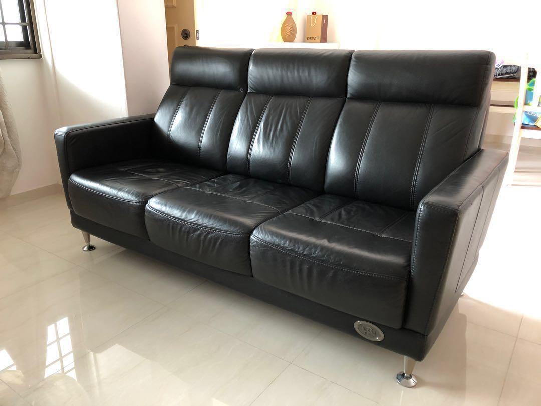 3 Seater Black Leather Sofa Seahorse