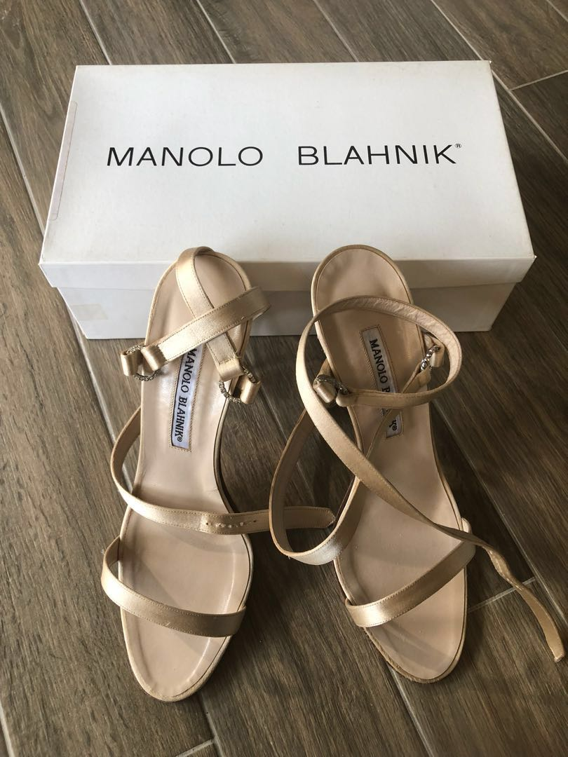 1be00cf0769a5 Manolo Blahnik Satin Strappy Heels, Luxury, Shoes on Carousell