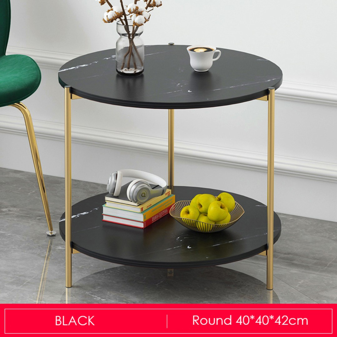 Gold Metal Round Coffee Table.Marble Print Gold Metal Round Coffee Table Black
