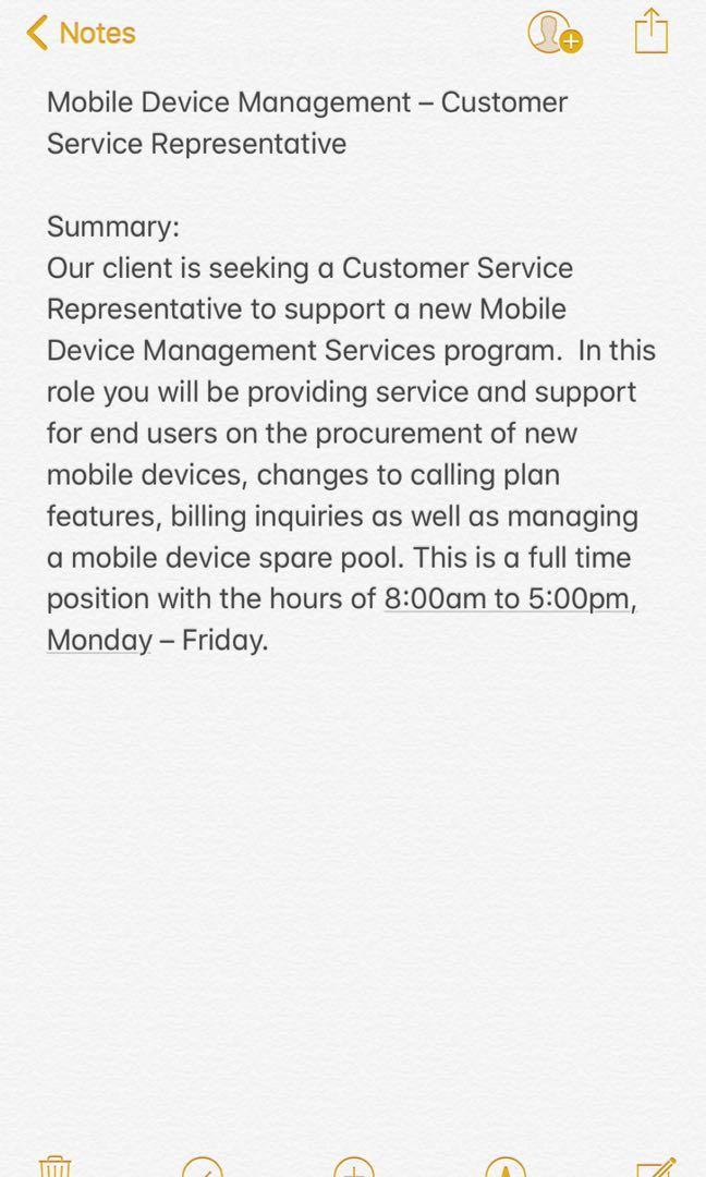 Mobile device management - customer service representative