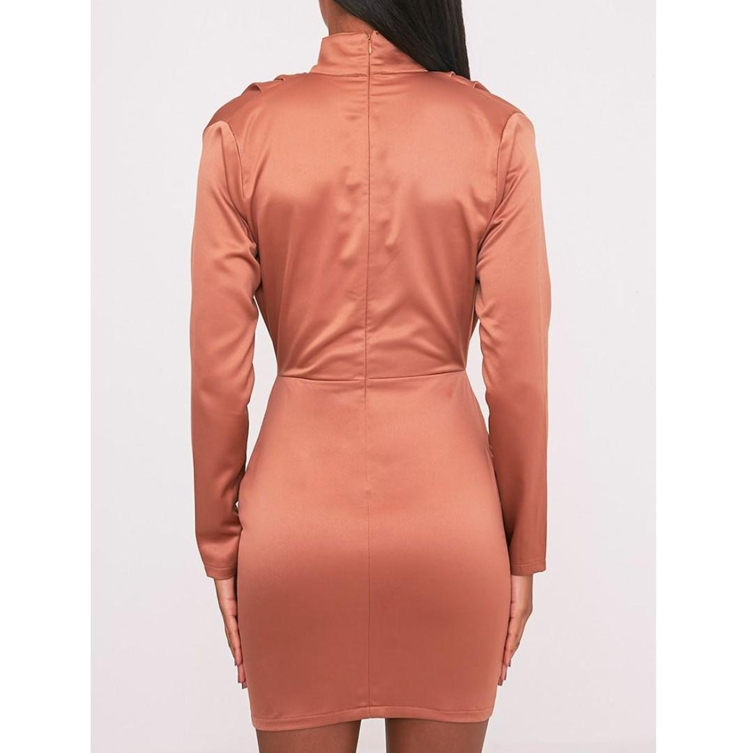 Pretty Little Thing Chrissie Lace Up Satin Bodycon Dress