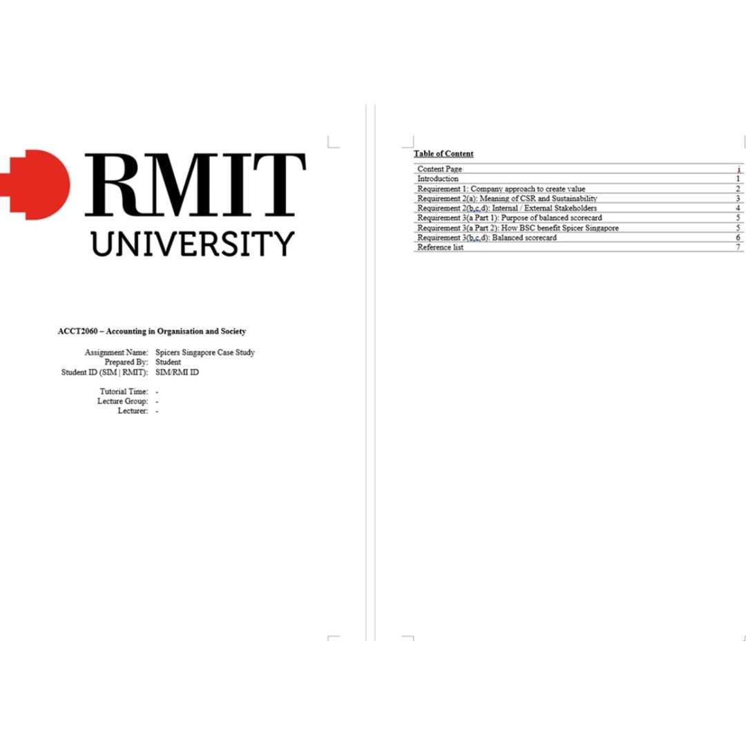 RMIT Accounting in Organisation and Society assignment [2019