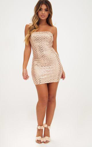 rose gold strappy sequin straight neck bodycon dress