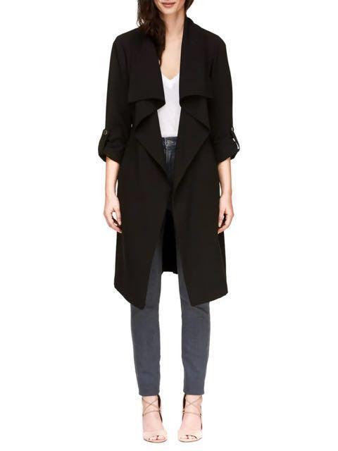 SOIA & KYO Ornella Draped Trench Coat (Black, XS)