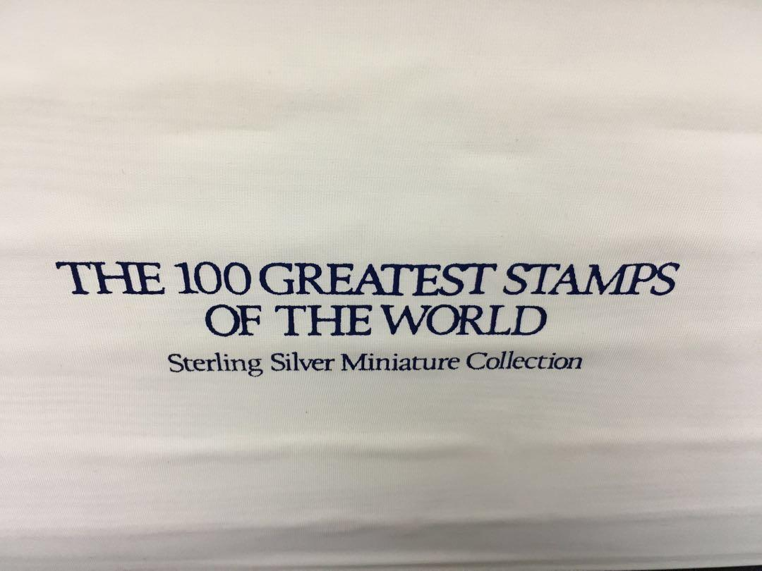 """Sterling silver miniature stamps """"The 100 greatest stamps of the world"""""""