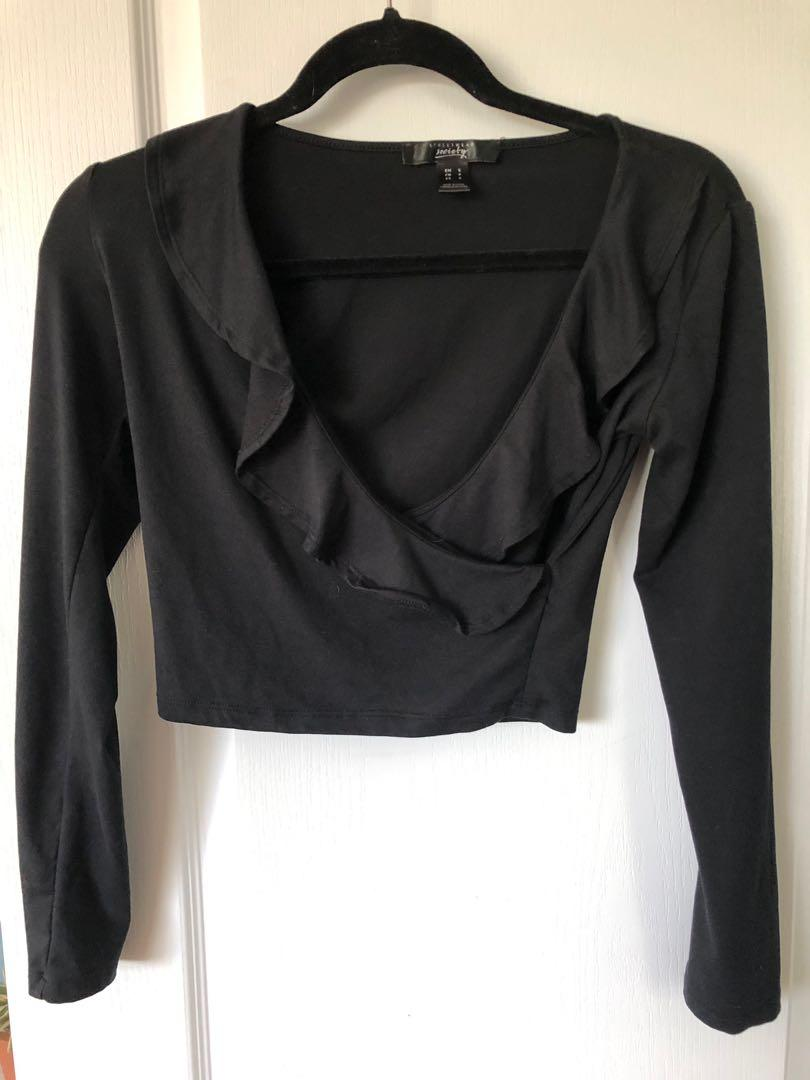 Streetwear Society Black Cropped Shirt (size small)