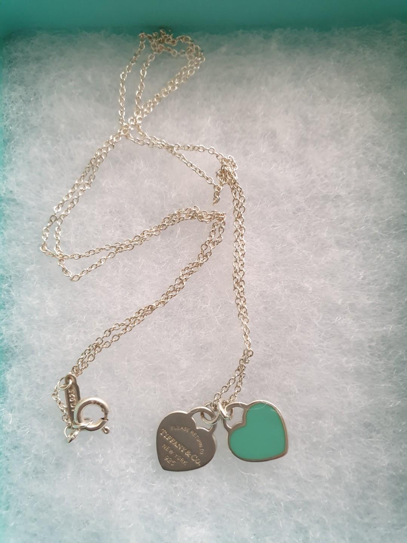 febb5c4fe Tiffany mini double heart tag pendant necklace, Women's Fashion ...