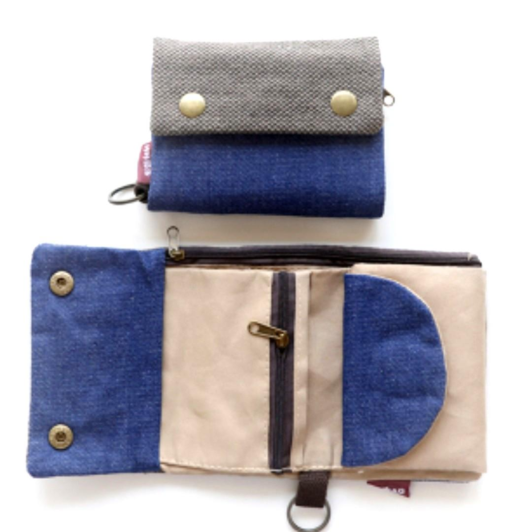 Unique Blue Fabric Wallets with Card Holders / Organiser/ Free Smart Pac Mail