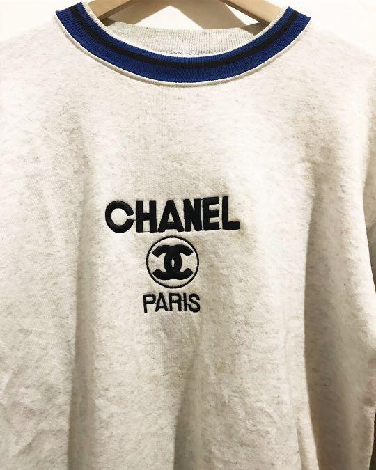 Vintage/Bootleg Embroidered Chanel Sweatshirt in Grey/Blue