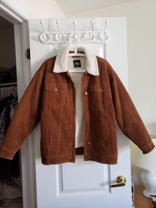 Zara Corduroy Sherpa Oversize Jacket