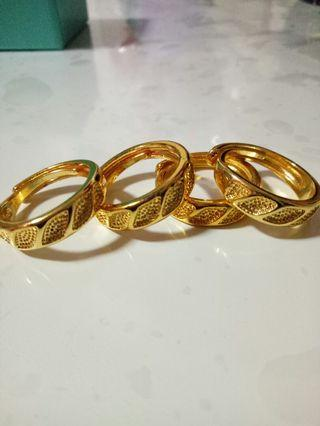 Thai gold ring 999 coated gold adjustable