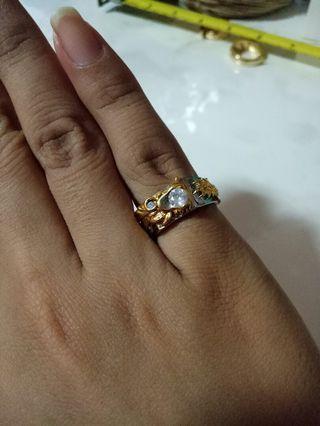 Diamond dragon 999 coated gold Ring