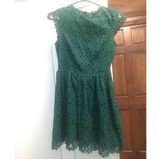Lightly used Forest Green Lace Mini Dress- Size 2