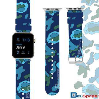 Brand New Camo A Blue Custom Design Camouflage Series TPU Wrist Strap Apple Watch Band 38mm 42mm for iWatch Series 4 3 2 1