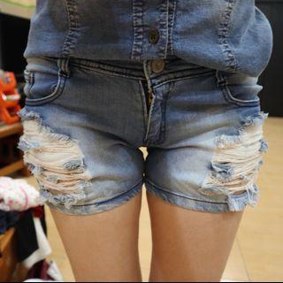 Denim Ripped Shorts Hot Pants Celana Pendek