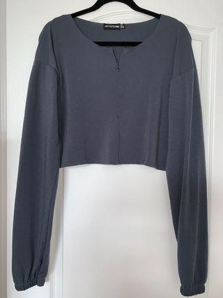 Pretty Little Thing Cropped Long Sleeve Quarter Zip in Charcoal