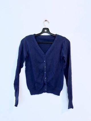藍色針織外套 cardigan