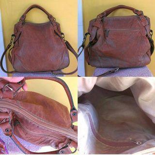 #BAPAU Brown bag faux leather fossil look alike