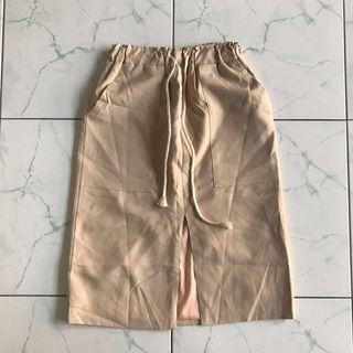 Cream Drawstring Skirt