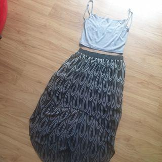 Bundle: printed hi-low long-back skirt + cropped grey YRYS camisole blouse