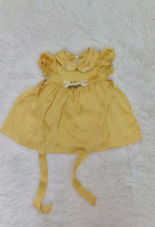 Newborn Girl Dress Mustard