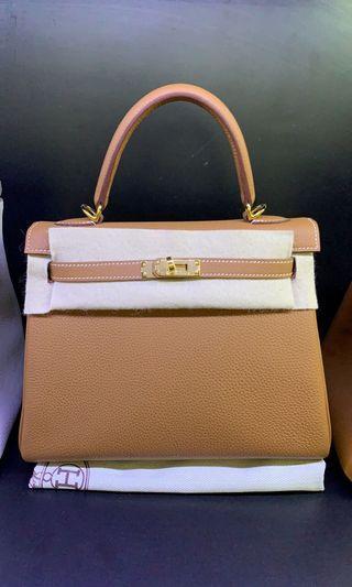 Hermes Kelly 25cm 37 gold color togo ghw D