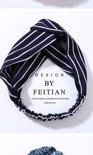 Navy Fabric Knotted Headband