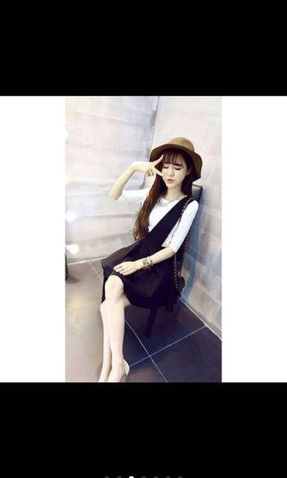 🚚 🌟現貨韓系🎏百搭蓬裙收腰背心短裙兩件套裝