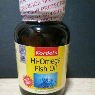 Kordel's Hi-omega Fish Oil, 30 Capsules, 1 Daily