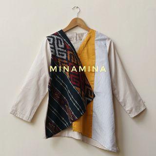 [NEW] Baju Atasan Wanita Kombinasi Tenun Ikat Stylish Top Modern T-DPA Yellow