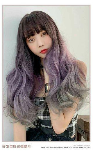 (NO INSTOCKS!)Preorder korean S curls three tone gradient wavy long air bangs wig*waiting time 15 days after payment is made*chat to buy to order