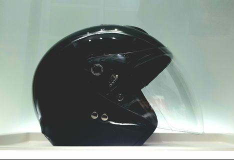 Helmet PSB Approved New, SMX, cheap and safe, Black Helmet, visor, gloss, size L.