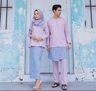 Adrianna Yariqa Dusty Pink/Lavender Baju Kurung Pahang (LADIES SET ONLY)
