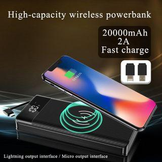 20000mAh Dual Output/Input WIreless PowerBank with Cable