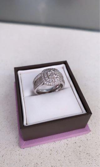 14K white gold double cluster engagement ring with matching wedding band