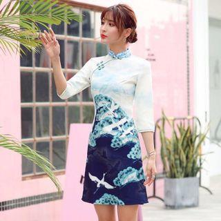 《搬家出清》全新仙鶴改良式七分袖旗袍
