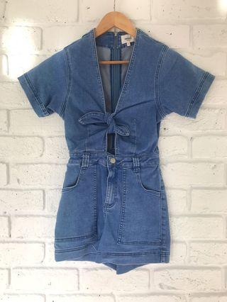 Seed Bow Denim Playsuit