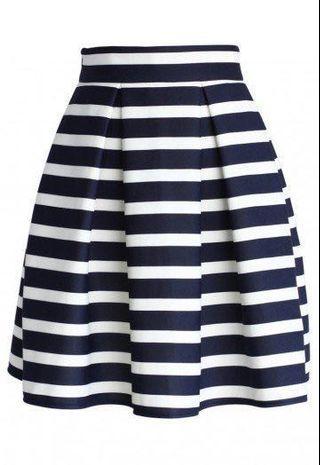 🌻 Blue and White Striped A Line Chiffon Midi Maxi Skirt