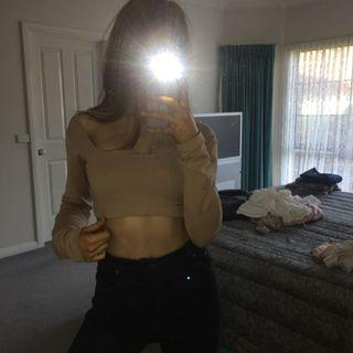 Missguided Nude / Tan Long Sleeve Crop Top