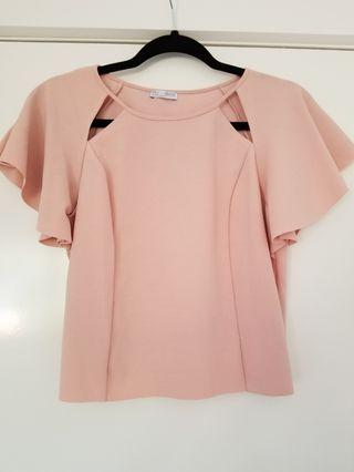 Zara blush pink cropped top flutter sleeves size M