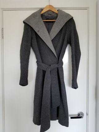 MNG grey wool blend coat with hood size EUR S