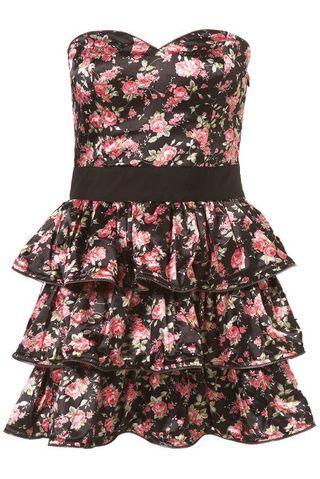 [Preloved] Topshop Black Rose Ruffle Zip Bandeau Dress